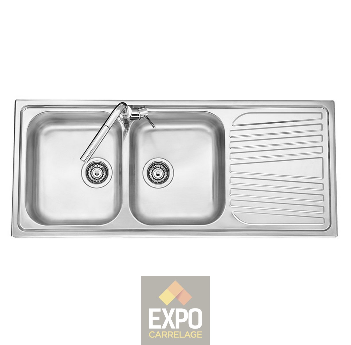 Evier inox olympus 2 bacs expo carrelage for Evier mural inox